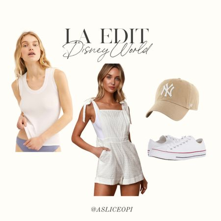 📷 LA EDIT- Lulus white romper, scoop neck white tank top,  tan Yankees baseball hat, white low top converse! http://liketk.it/3mwNH #liketkit @liketoknow.it