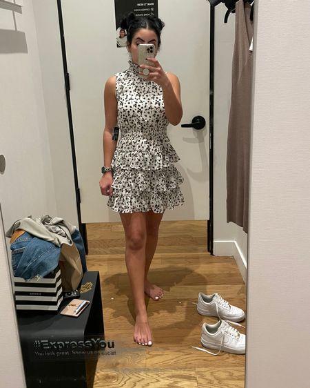 Spring dress perfect for a wedding! Currently 40% off. I'm wearing an XS. $48! http://liketk.it/3ctwn #liketkit @liketoknow.it #LTKSpringSale #LTKunder50   Spring dress, wedding guest dress, vacation dress, ruffle dress #ltkspringsale21