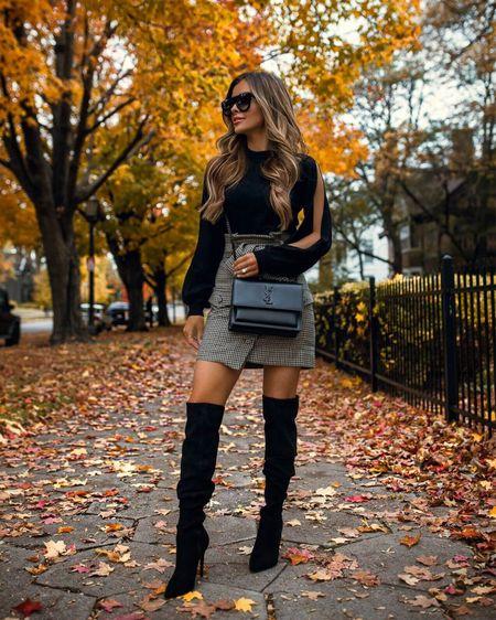 Fall date night outfit  Similar revolve tweed skirt Over the knee boots Saint Laurent Sunset Bag  #datenight   #LTKshoecrush #LTKSeasonal #LTKstyletip