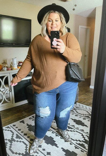 This plus size fall outfit is full of Walmart finds and an amazing pair of Sofia Vergara jeans! If you need a casual plus size fall outfit, this one is perfect!   #LTKSeasonal #LTKcurves #LTKunder50