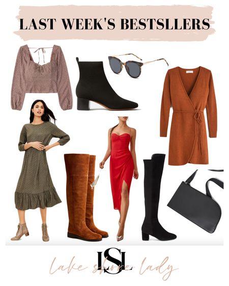 Last week's bestsellers! Booties, booties, fall dresses, sling bag, sunglasses   #LTKSeasonal