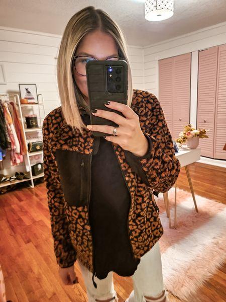 Leopard fleece jacket from Walmart fashion    #LTKunder50 #LTKstyletip #LTKSeasonal