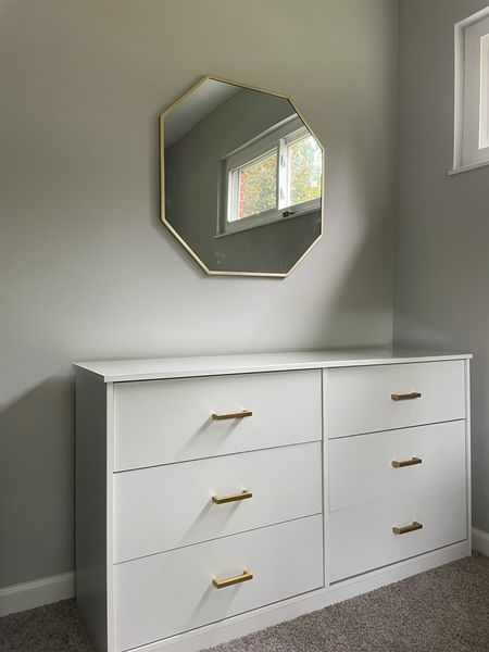 Love designing my little closet/office space! Added gold handles to this white dresser for an elevated look & also added a custom piece of glass for the top.   #LTKhome #LTKunder50 #LTKunder100