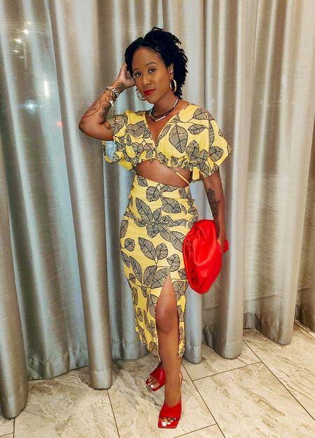 Shein  two piece set  yellow  black  floral  high waist skirt  Skirt with split    #LTKunder50 #LTKunder100