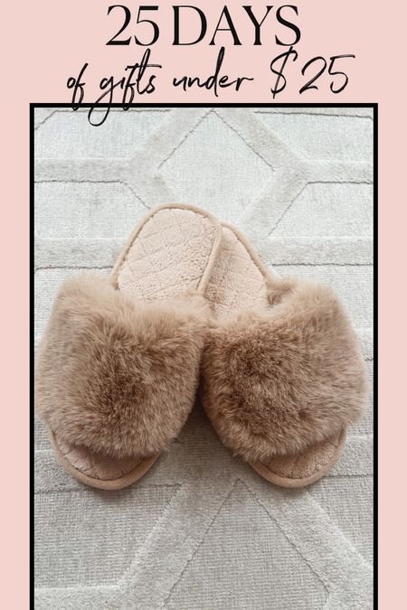 Gift ideas under $25! These slippers are found on Amazon they are only $10 and come in other colors! #giftsforher #giftguide #giftsunder25 #amazonfinds #targetfinds #giftsforhim #slippers #cozystyle #cozygifts  #LTKGiftGuide #LTKshoecrush #LTKHoliday