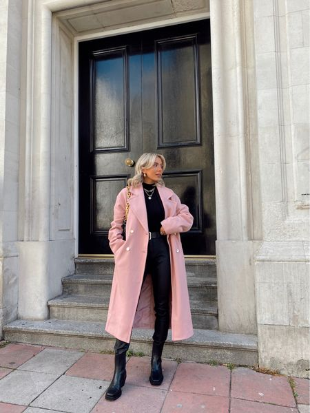 Pink tailored slouch coat styled with a black blazer and roll neck for layered everyday autumn looks that can be easily taken into date nights with a change of boot or a coloured lip!   #LTKeurope #LTKstyletip #LTKSeasonal