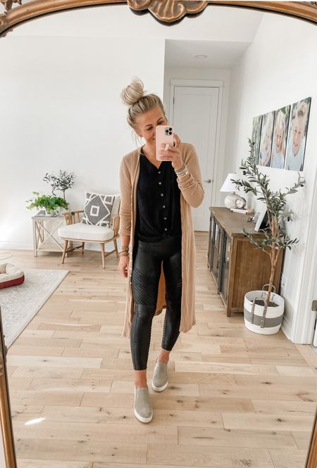 Spanx leggings + a cardigan = the perfect fall outfit!   Use SARAHJOYxSPANX for 10% off and free shipping 🧡  #LTKunder100 #LTKunder50 #LTKSeasonal