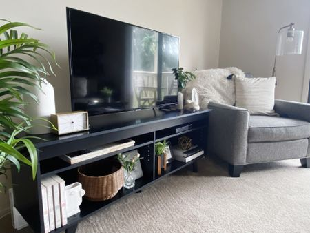Bought a new TV stand, and it fits in SO well! Love a great mid century modern piece! Love the added decor, as well!  Shop these and similar items at thefellowfashionista.com or the @liketoknow.it app.   http://liketk.it/3iDCh    #liketkit   #LTKhome