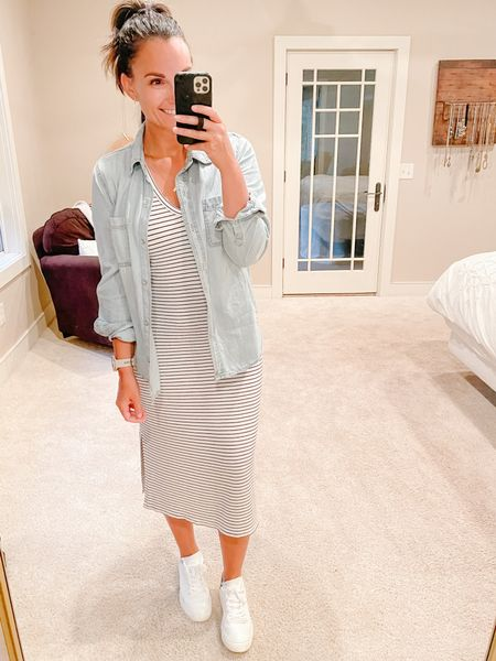 The easiest way to transition into a new season is to layer with a denim button up, just sayin! You know when a cardigan is too much but no sleeves is too less? A button down is the perfect in between. I layered one over a striped midi and kept it super casual with the perfect white sneaker.
