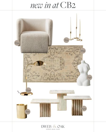 New arrivals at CB2, featuring a sherpa accent chair, a neutral Persian rug, marble accent tables, gold candlesticks and more! #cb2 #homefinds   #LTKhome #LTKstyletip