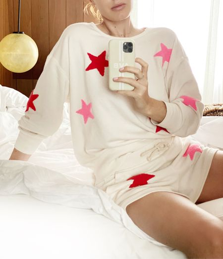 I've been wearing this star loungewear set a ton at home and it's perfect for lounging at the hotel in London. The shorts have pockets and the top can also be worn with jeans/ a Jean skirt as a top. The star patches are 3D and make the set look higher end.   #LTKunder50 #LTKHoliday