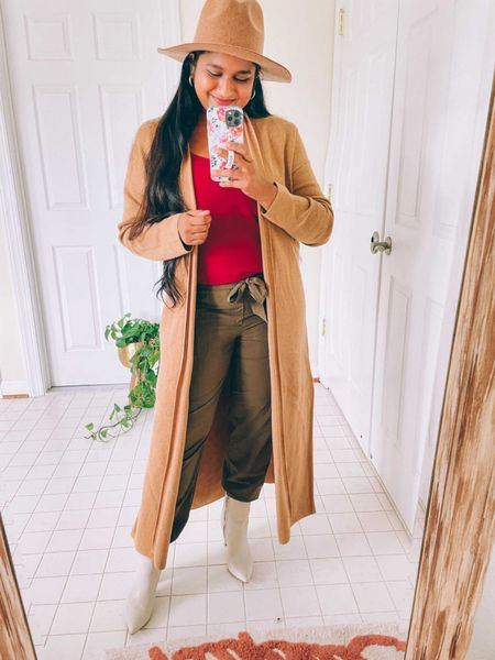 Fall outfit ideas, fall style duster, cardigan, cargo jogger, camisole, banana republic factory, Marc fisher booted   #LTKHoliday #LTKworkwear #LTKunder50