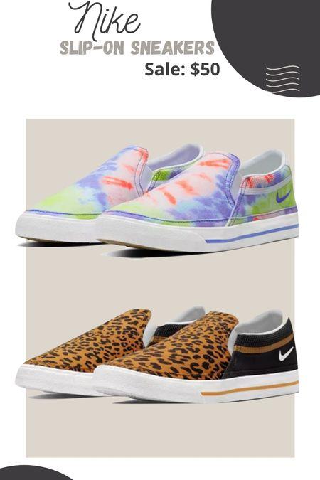 Nike slip on sneakers Animal print Leopard print Tie dye   #LTKstyletip #LTKunder50 #LTKsalealert