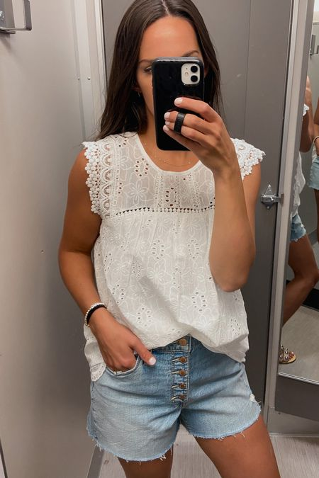 Sized down to a small in the top Size 8 in shorts   Eyelet top, target style, target finds  #LTKunder50 #LTKSeasonal