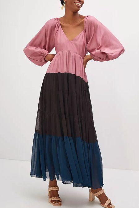Puff sleeve color block maxi dress   #LTKSeasonal #LTKworkwear #LTKHoliday