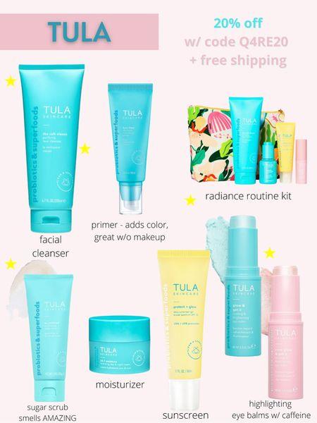 20% off SITEWIDE at Tula.  Code: Q4RE20  Skincare, Tula sugar scrub, Tula eye balm, facial cleanser, Tula sunscreen, Tula tinted moisturizer, beauty products    http://liketk.it/3hXf7  #liketkit @liketoknow.it I #LTKbeauty #LTKsalealert #LTKunder100