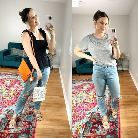 Amazon finds! Shared a little amazon haul on instastories and TikTok! This grey T-shirt is the perfect everyday shirt, my black tank top has the cutest ruffle details! And these two wicker bags are both amazon fashion finds, perfect summer purse and so affordable. Also linked my mom jeans and sandals, these sandals are also an amazon find! http://liketk.it/3irxM #liketkit @liketoknow.it #LTKunder50 #LTKshoecrush #LTKitbag