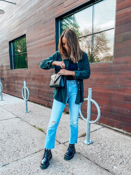 Casual fall outfit with flannel and dad straight jeans + doc marten combat boots - wearing s top, size up one in jeans, down .5 in docs  #LTKshoecrush #LTKSeasonal #LTKitbag