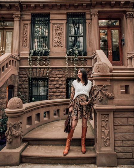Fall boots, paisley dress and sweater vest (fall outfits, fall shoes, fall dresses)     #LTKshoecrush #LTKSeasonal #LTKbump