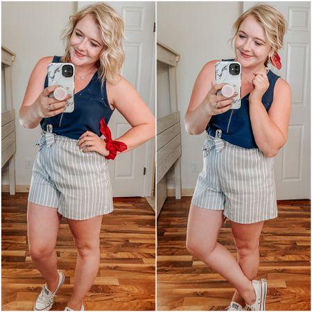 Paper bag shorts, striped shorts, shoreline sneaker, chiffon scrunchie, druzy necklace, zipper tank, summer, golf outfit, patriotic, red white and blue, pear shape, mom outfit, midsize.   http://liketk.it/2RJ4H #liketkit #LTKsalealert #LTKstyletip #LTKunder50 @liketoknow.it