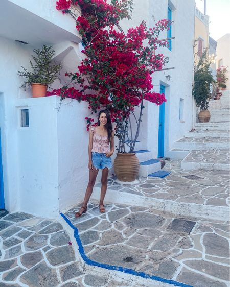 Tie front satin silk top. Forever 21. Button from Jean shorts, beach vacation outfit, honeymoon outfit, Greece http://liketk.it/3gLpa @liketoknow.it #liketkit #LTKunder50 #LTKeurope #LTKtravel