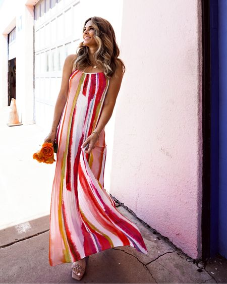 Bright colored dress with braided sandals, casual maxi dress her fashioned life Evereve   #LTKstyletip #LTKunder100 #LTKSeasonal