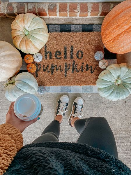 Fall front porch  inspo 🍂 how cute is this welcome mat! So cute to decorate your front print with for fall. Linking my outfit and other decorations down below!   #LTKstyletip #LTKHoliday #LTKhome