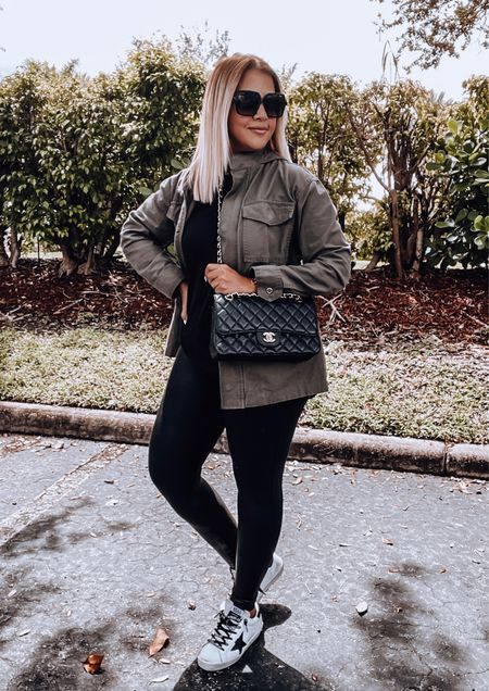 Utility jacket, faux leather leggings, Spanx leggings, golden goose sneakers, Chanel flap bag, oversized Sunnies   #LTKunder100 #LTKSeasonal #LTKstyletip