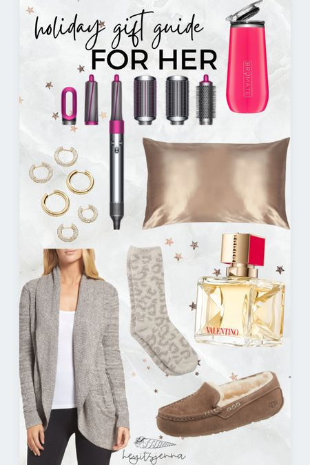 Holiday gift guide for her Gift ideas for wife, girlfriend or mom Barefoot dreams Sill pillowcase and dyson air wrap make the best presents!   #LTKunder100 #LTKHoliday #LTKGiftGuide