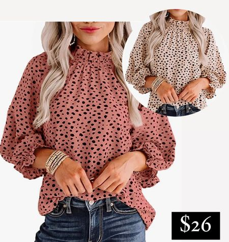 Amazon fashion finds Spotted animal print blouse dotted Dalmatian leopard cheetah print top  #LTKworkwear #LTKunder50 #LTKSeasonal