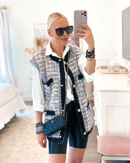 Tweed vest. White oversized button down shirt. Biker shorts. Faux leather.   #LTKstyletip #LTKunder100 #LTKSeasonal