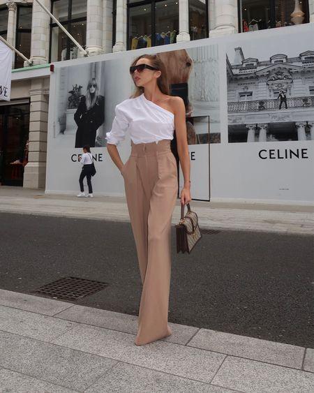 Tan wide leg trousers  Asymmetric one shoulder shirt