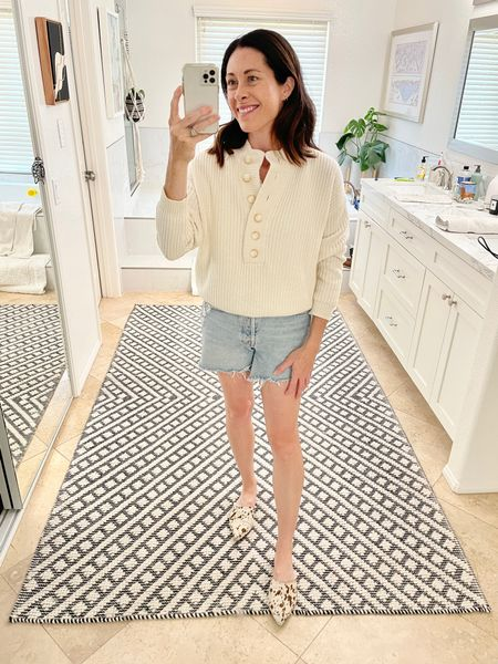 Styling the Lucas Jumper from @sezane - wearing my true size - it does have some stretch to it. It is wool and cotton. I don't find it to be  scratchy.   Also wearing the Able Mules true to size and comfortable- code ARTINTHEFIND25 until Friday or ARTINTHEFIND20 after that!   #LTKshoecrush #LTKstyletip #LTKsalealert