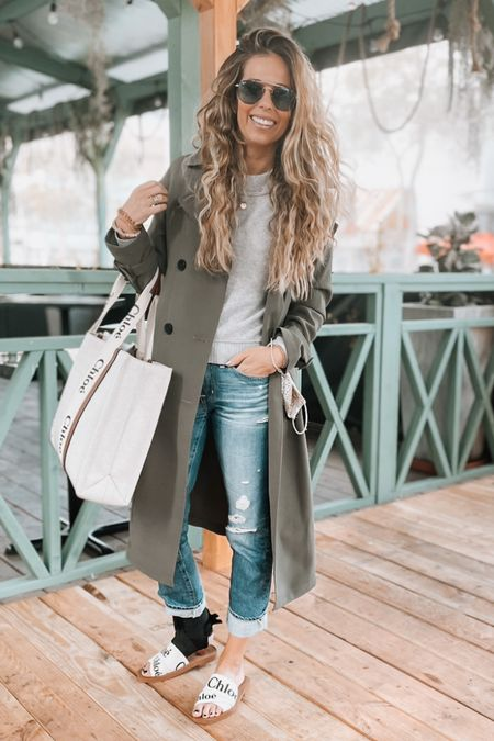 Business casual, trench coat, sandals, grey sweater, cashmere sweater, jeans, tote, Chloe   #LTKworkwear #LTKDay #LTKitbag