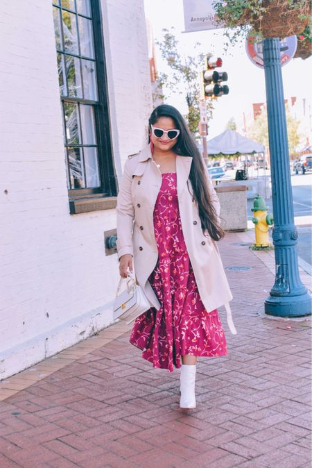Hill house nap dress, trench coat, March fisher booties, polene numero sept, fall dresses, fall wedding dresses, fall outfits, holiday style   #LTKSeasonal #LTKHoliday #LTKworkwear