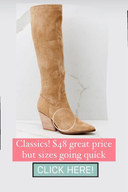 Knee high taupe boots such a good deal! #boots #booties #shoes #fallboots #kneehigh  #LTKsalealert #LTKshoecrush #LTKunder50