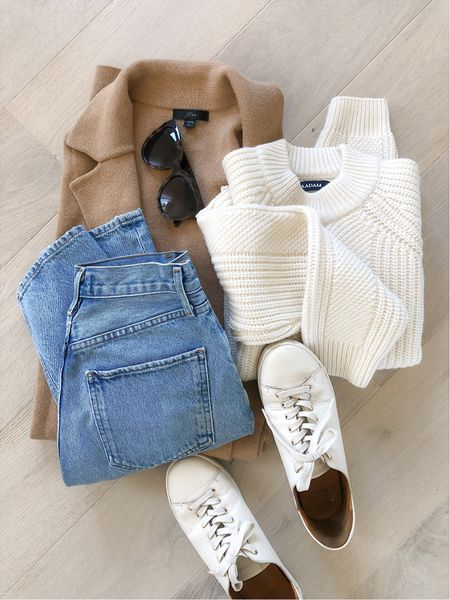 Fall outfit staples. 🤍 White cable knit sweaters + camel outerwear. Love this look paired with sneakers for an effortless everyday or weekend look. 👟