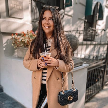 Fall fashion Fall nails Wool coat Camel coat Sweater Patent leather leggings Spanx faux leather leggings   #LTKunder100 #LTKSeasonal #LTKstyletip