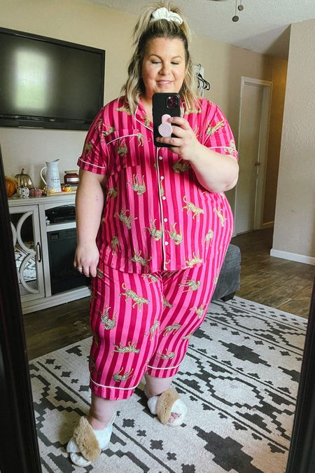 These plus size pajamas are a Walmart find and look more expensive than they are! Size up as fabric will likely shrink. Super cute gift idea for a plus size bride!   #LTKcurves #LTKstyletip #LTKunder50