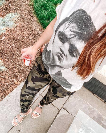 Fun summer sandals! Camo joggers. Summer outfits. Spring outfits. Graphic tee. http://liketk.it/3eNhw #liketkit @liketoknow.it #LTKshoecrush #LTKstyletip