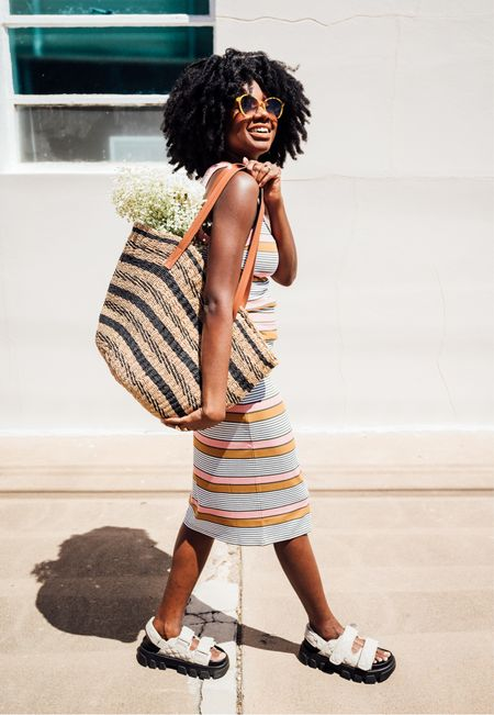 Striped woven tote, striped tank and striped pull on midi skirt. Chunky sandals in cream and ombré sunglasses.   #LTKunder50 #LTKSeasonal #LTKunder100