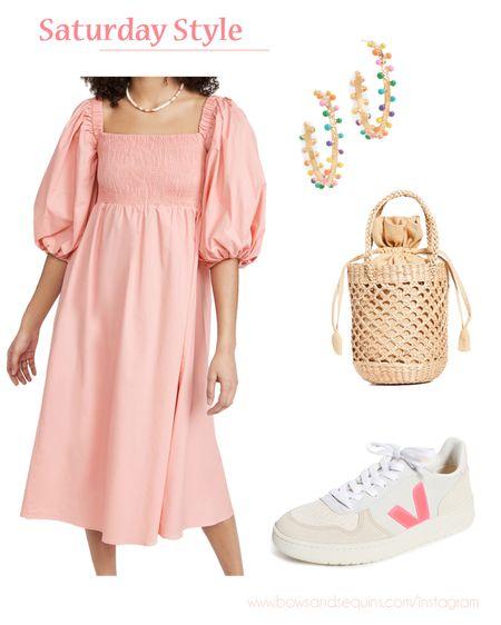 Puff Sleeve Smocked Dress, Veja Sneakers, Straw Bag, Rainbow Hoop Earrings   #LTKstyletip