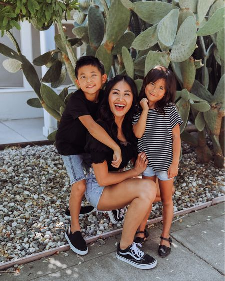Black and Jean shorts with slip on sneakers for the family. The perfect summer look. Striped top and basic black tees   #LTKfamily #LTKkids #LTKunder100
