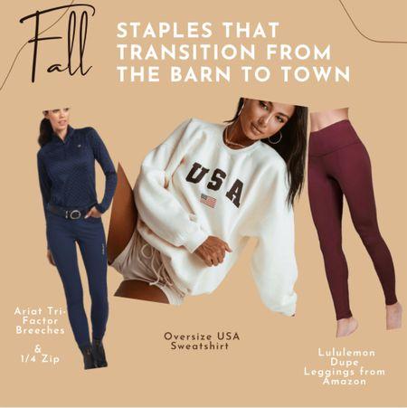 USA sweatshirt  Casual Athleisure Equestrian style Riding looks From barn to town Ariat breeches LULULEMON align leggings  #LTKtravel #LTKbacktoschool #LTKfit