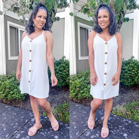 White slip dress, cute and comfy. Good as a beach coverup or summer dress #amazonfinds #summerdress $23  #LTKstyletip