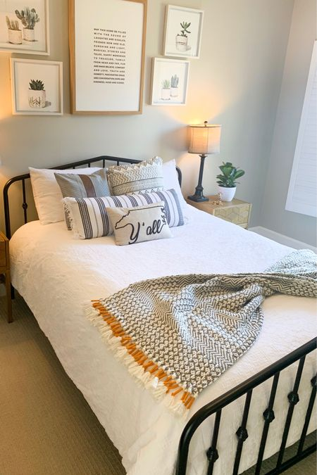 Be our Guest, be our Guest! Put our service to the test🖤🖤   We finally finished our guest room and I'm sooooo happy with how it came out!  Now that things are opening up and it is safer for friends and family to get together. I had to change our old dark clunky furniture for new bright, light bedding and a modern iron bed.    #liketoknowit #liketoknowithome #guestbedroom #liketkit #LTKSpringSale #LTKfamily #StayHomeWithLTK    http://liketk.it/3b5cM   @liketoknow.it