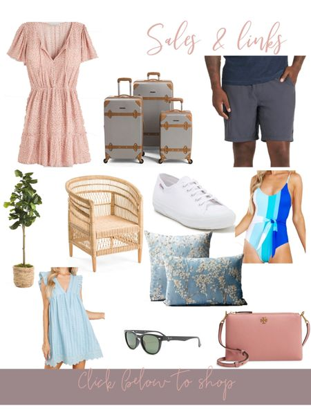 """Sales and links of the day! ✨🤍 cutest summer dress from Abercrombie is currently on sale, prettiest 3-piece luggage set under $150, Jeff's favorite shorts from Vuori are back in stock, fiddle fig tree 60"""", pretty frontgate pillows on sale, Tory Burch crossbody purse discounted, Raybans on sale & so much more! http://liketk.it/3gBw0 #liketkit @liketoknow.it #LTKsalealert #LTKunder100 #LTKhome"""