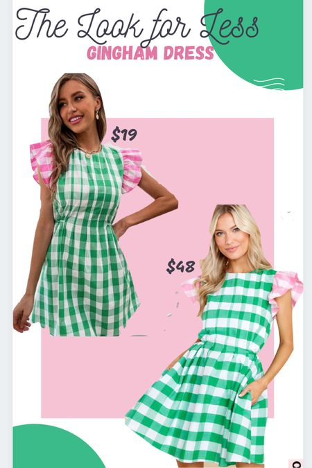 Pink & green gingham plaid dress Ruffle sleeve  #reddress #shein #summerdrese #sundress   #LTKbump #LTKunder50 #LTKstyletip