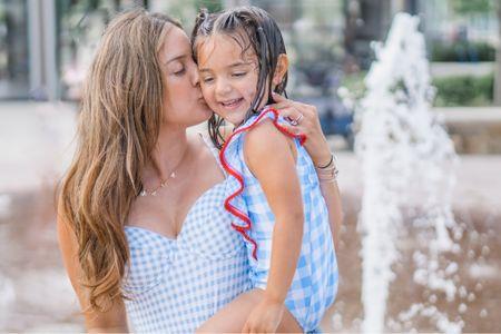 Mommy and me matching. Gingham swimsuit. Light blue gingham swim matching mommy and little girl.     http://liketk.it/3fMji #liketkit @liketoknow.it #LTKfamily #LTKkids #LTKtravel @liketoknow.it.family