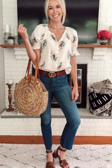 Summer capsule wardrobe (look 7/9): Floral smocked top, cropped flare jeans, designer dupe belt, round straw bag, heeled sandals ☀️ Check out the other looks in this series for more casual summer outfit ideas 💡 http://liketk.it/2CuLR @liketoknow.it #liketkit #LTKunder100 #LTKstyletip #LTKsummer , Madewell, vacation